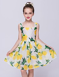 A-line Knee-length Flower Girl Dress - Organza Square with Pattern / Print