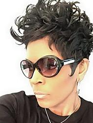 styles mignons doigt vagues capless cheveux humains perruques courtes coiffures noires douces pour femme noire 2017