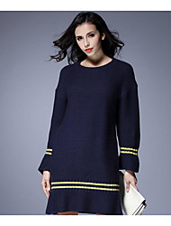 Women's Casual/Daily Simple Loose Dress,Solid Round Neck Midi Long Sleeve Blue Acrylic Spring Mid Rise Micro-elastic Thick