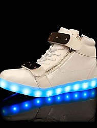 2017 New Arrival Women's Men's LED Shoes LED light luminous shoes USB Charging Best Seller High Top Basket Fashion Sneakers Black White
