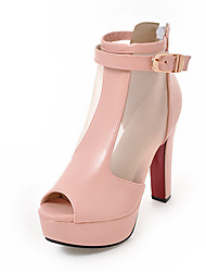 Women's Heels Spring Summer Fall Club Shoes Gladiator Customized Materials Casual Chunky Heel Buckle Black Pink White Beige