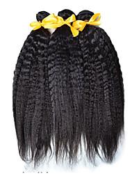 Indian Yaki  Virgin Hair 3 Bundles BIndian Virgin Kinky Straight Hair Yaki Human Hair Mink Indian Hair Weave Bundles