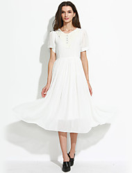 Women's Casual/Daily Vintage / Cute A Line / Swing Dress,Solid Round Neck Midi Short Sleeve White Cotton / Polyester / Others Summer