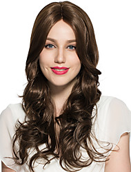Half Capless Wig Deep Wave Women Wig Long Wavy Brown Synthetic Fiber Wig