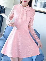 Trapèze Robe Femme Sortie Décontracté / Quotidien Travail simple Mignon Chinoiserie,Couleur Pleine Asymétrique Au dessus du genouManches