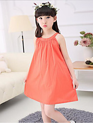 Girl's Casual/Daily Beach Solid Dress,Silk Summer Spring Sleeveless