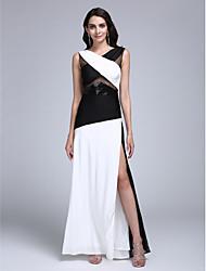 TS Couture Formeller Abend Kleid - Muster Eng anliegend V-Ausschnitt Boden-Länge Jersey mit Vorne geschlitzt Pailletten