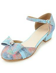 Femme-Mariage Décontracté Sport-Noir Bleu Rose-Gros Talon-Confort Bride de Cheville Flower Girl Chaussures De minuscules talons pour les