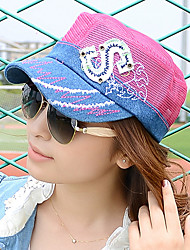 Women 'S Fashion B Letter Cowboy Flat Top Hat Spring And Summer Women' S Hat Shade Leisure Net Cap