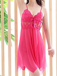 Chemises & Blouses Lingerie en Dentelle Ultra Sexy Vêtement de nuit Femme Couleur Pleine Organza Rose Rouge