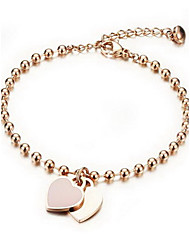 Women's Chain Bracelet Alloy Fashion Heart Gold Jewelry 1pc