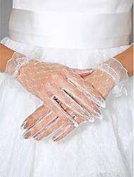 Wrist Length Fingertips Glove Tulle Bridal Gloves