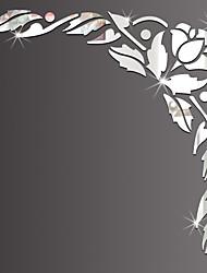 Зеркала Мода Цветы Наклейки 3D наклейки Зеркальные стикеры Декоративные наклейки на стены,Стекло материал Украшение дома Наклейка на стену