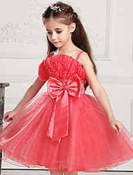 Kids Girls' Big Bowknot 3D Rose Flower Princess Layered Pageant Gauze Tutu Braces Full Dress