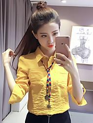 Feminino Camisa Social Casual Formal Trabalho Simples Sofisticado Primavera Outono,Sólido Branco Amarelo Algodão Raiom PoliésterColarinho
