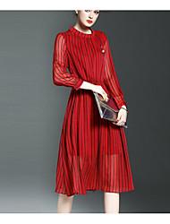 Feminino Evasê Vestido, Para Noite Formal Simples Sólido Colarinho Chinês Altura dos Joelhos Manga Longa Vermelho PoliésterPrimavera