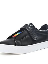 Women's Flats Spring Comfort PU Outdoor Flat Heel Split Joint White Black Walking