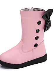 Fille-Décontracté-Noir Rose Rouge-Talon Plat-Flower Girl Chaussures-Bottes-Polyuréthane