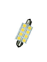 41mm blanc 8 x chaleureuse 5050 8SMD feston dôme carte intérieur LED ampoules de3423 6418