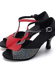 Maßfertigung-Keilabsatz-Satin-Latin Jazz Modern Swing Schuhe-Damen