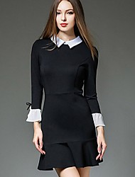 Women's Formal Work Sexy Trumpet/Mermaid Dress,Solid Ruffle Shirt Collar Above Knee Long Sleeve Others Black Spring High Rise Inelastic