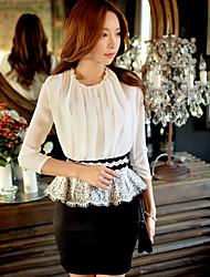 Feminino Bainha Duas Peças Preto e Branco Vestido, Para Noite Casual Trabalho Simples Moda de Rua Sofisticado Estampa Colorida Retalhos