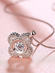 Pendants Four Leaf Clover Sterling Silver Basic Flower Style Fashion Silver Jewelry For Daily Casual 1pc