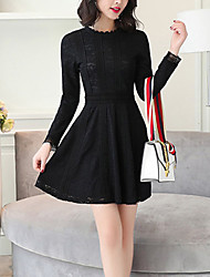 Women's Slim A Line Lace Dress Cut Out Patchwork Round Neck Mini Long Sleeve Blue Spring High Rise