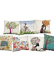 7 PC Lino Cobertor de Cojín Funda de almohada,Floral Sólido Con TexturasModerno/Contemporáneo Casual Oficina/ Negocios