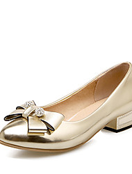 Women's Heels Spring Summer Leatherette Office & Career Dress Party & Evening Low Heel Rhinestone Bowknot Gold Silver Blushing Pink