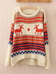 Damen Standard Pullover-Ausgehen Urlaub Niedlich Tierfell-Druck Rot Beige Rundhalsausschnitt Langarm Wolle Winter Dick Mikro-elastisch