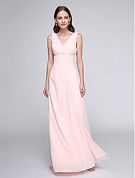 LAN TING BRIDE Floor-length V-neck Bridesmaid Dress - Elegant Sleeveless Chiffon