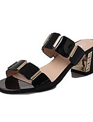 Women's Heels Spring Comfort PU Casual Stiletto Heel Split Joint Black Walking