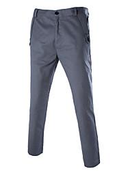 Hommes Ample Droite Chino Pantalon,Vintage simple Décontracté / Quotidien Plage Vacances Couleur Pleine Taille Normale fermeture Éclair