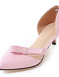 Women's Heels Spring Summer Fall Club Shoes Leatherette Office & Career Party & Evening Dress Low Heel Bowknot Black Yellow Pink White