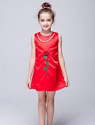 Sheath / Column Short / Mini Flower Girl Dress - Nylon Taffeta Jewel with Pearl Detailing