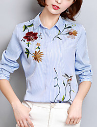 Women's Embroidery Going out Work Street chic Spring /Fall Fashion Loose Shirt Striped Embroidered Asymmetric Shirt Collar Blue Polyester