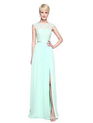 A-Line Bateau Neck Floor Length Chiffon Lace Bridesmaid Dress with Appliques Pleats by LAN TING BRIDE®