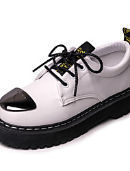 Women's Boots Spring Summer Fall Winter Creepers PU Microfibre Outdoor Office & Career Casual Low Heel Metallic toe Lace-up Black White
