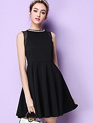 Women's Formal Party/Cocktail Simple Cute Little Black Dress,Solid Beaded Round Neck Above Knee Sleeveless Polyester Black SpringHigh
