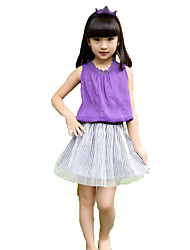 Girl Casual/Daily Beach Holiday Solid Sets,Cotton Polyester Summer Sleeveless Clothing Set