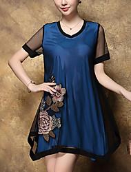 Feminino Solto Vestido, Para Noite Tamanhos Grandes Moda de Rua Bordado Decote V Acima do Joelho Manga Curta Azul Vermelho Poliéster Verão