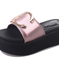Women's Slippers & Flip-Flops Summer Light Soles PU Office & Career Dress Party & Evening Wedge Heel Buckle Black Green Pink Walking