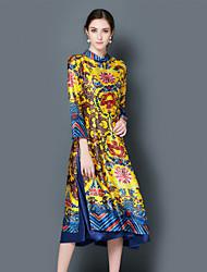 Feminino Solto Vestido, Para Noite Festa/Coquetel Temática Asiática Geométrica Colarinho Chinês Médio Manga Longa Azul Amarelo Poliéster