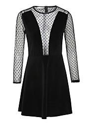 Women's Sexy Lace Dress V Neck Long Sleeve Short Dress