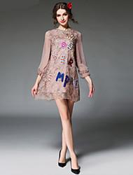 aofuli Frauen europa fashion Stickereispitze Perle lose Patchwork sehen durch 3/4 Ärmel Jahrgang eleganten Kleid