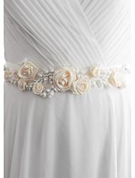 Satin Wedding Party/ Evening Dailywear Sash-Beading Floral Imitation Pearl Women's 98 ½in(250cm) Beading Floral Imitation Pearl