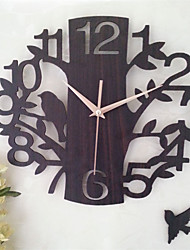 1pc 14 Inch Hollow Wooden Clock Room Mute Clock