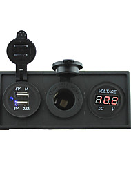 12V/24V Power charger3.1A USB port and 12V voltmeter gauge with housing holder panel for car boat truck RV(With red voltmeter)