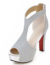 Damen-Sandalen-Kleid Lässig Party & Festivität-PU-Blockabsatz-Andere-Schwarz Silber Gold